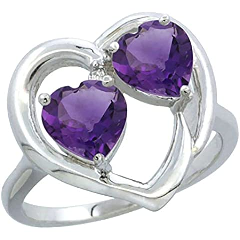 """Revoni, 14 carati bianco oro, ametista & con anello, 2 taglio cuore (6 mm)""""sassi - Ametista Promise Ring"""