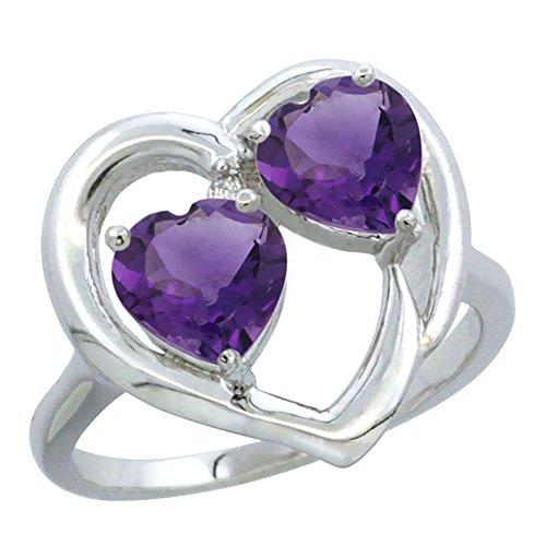 Revoni-Bracciale in oro bianco, 14 carati con diamante 2, pietra a forma di cuore, 6 mm, colore ametista, Oro bianco, 49 (15.6), cod. CW40101163-5 - Ametista Promise Ring