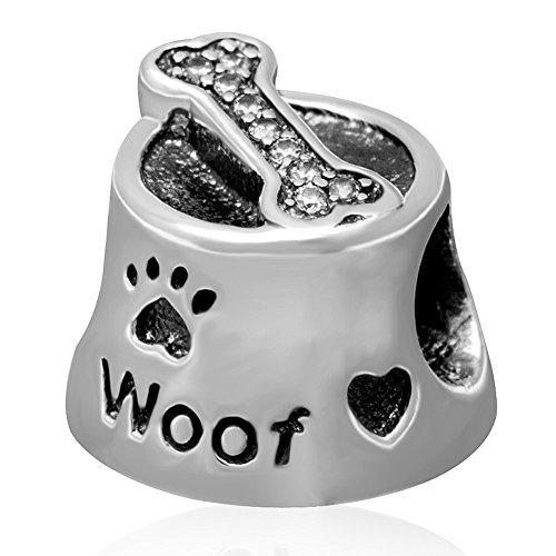 I Love My Dog Bol Woof Charm OS avec clair Oxyde de Zirconium Argent sterling 925 authentique Animal Paw Print Perle pour bracelet à charms européen