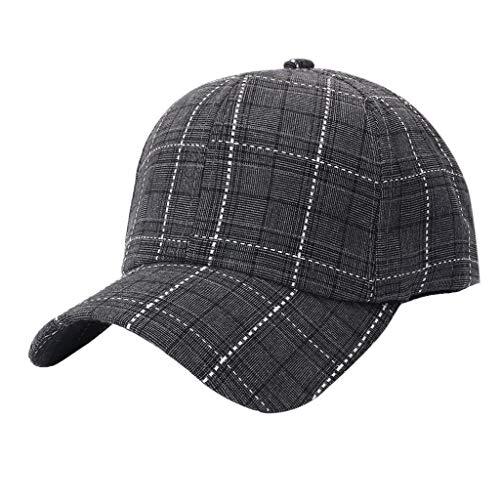 League Baumwolle (WQIANGHZI Baseballmütze Hat Unisex Outdoor Baumwolle hochwertige Plaid Baseball Cap einstellbar)