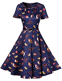 MISSMAO 1950s Vintage Vestidos de Mujer Hepburn Rockabilly Swing Retro Vestido De Cóctel Plisado Pinup
