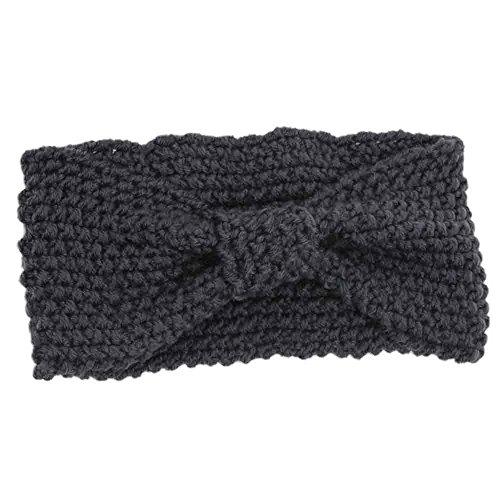 ASHOP Damen Winter Gestricktes Stirnband Klobig Häkeln Ohrwärmer Stirnbänder Headbands,Dunkelgrau -