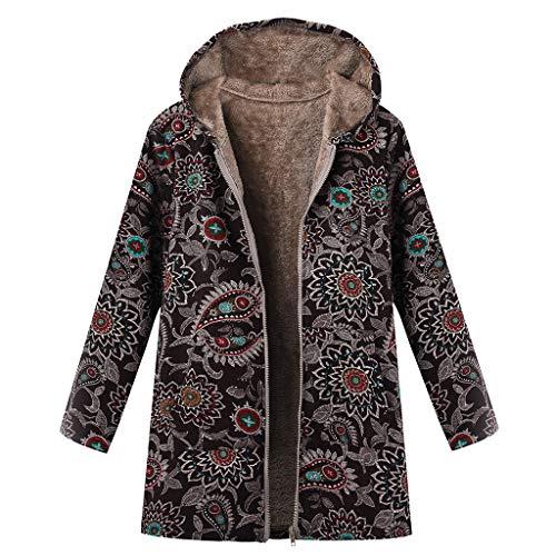 Vovotrade Cappotto Donna Elegante Giacca con Cappuccio Stampa Floreale Vintage Cappotti Autunno Inverno Cardigan Casuale Moda Manica Lunga Coat Parka Oversiz