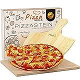 Pizza Tools Pizzastein - Hochwertiger Schamottstein für Grill, Gasgrill und Backofen | Brot-Backstein Set inkl. Pizzaheber | Ideal zum Pizza, Flammkuchen und Brot backen | Eckig 1,5 cm