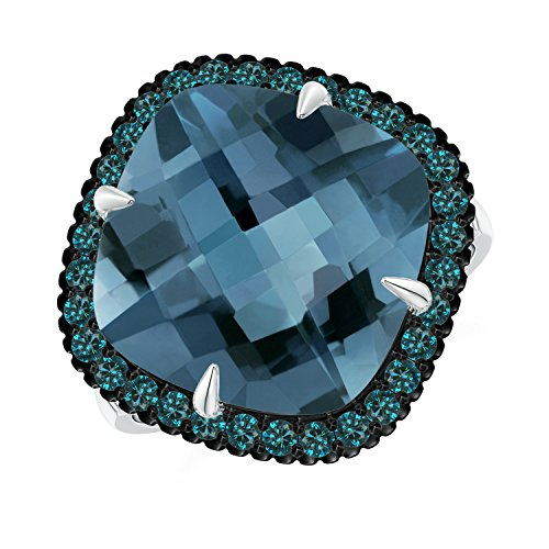Angara.com - 14 Kt Weißgold Kissenschliff London Blue Topaz (Topas In Ring Weissgold London Blue)