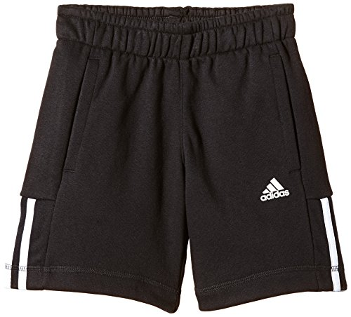 adidas Beinkleid Essentials Mid 3 Stripes Knit French Terry Shorts, schwarz, 128, S23280 (Short Stripe Terry)