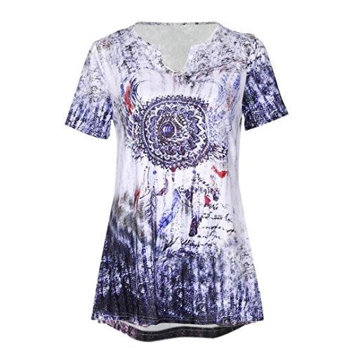 BaZhaHei Frauen Plus Größe Windbell Print V-Ausschnitt Kurzarm Bluse Pullover Tops Shirt Frau Windspiele Drucken V-Ausschnitt Kurzarm Mantel