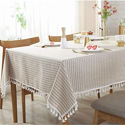 SJZC Tischdecke Uni Gestreift Quaste Einfach Baumwolle Tee Tischdecke,beige,140 * 200CM