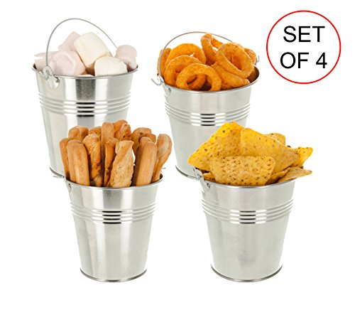 LIVIVO ® Set of 4 Steel Serving Buckets with Carry Handles 10cm - LFGB Food Safety Grade Passed Mini Metal Chip Buckets, perfect for serving Food Chips Fries Wings Tapas Onion Rings, Snacks, for setting out Cutlery or as a handy Planter Pot.