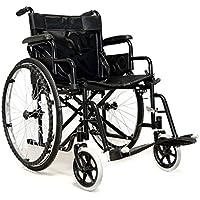 medicalpharm® carrito silla de ruedas autopropulsable, silla de ruedas Cochecito Ruedas para mayores y discapacitados, Compartimento de almacenamiento, silla con Plataforma y Asiento lavable, modelo B Negro