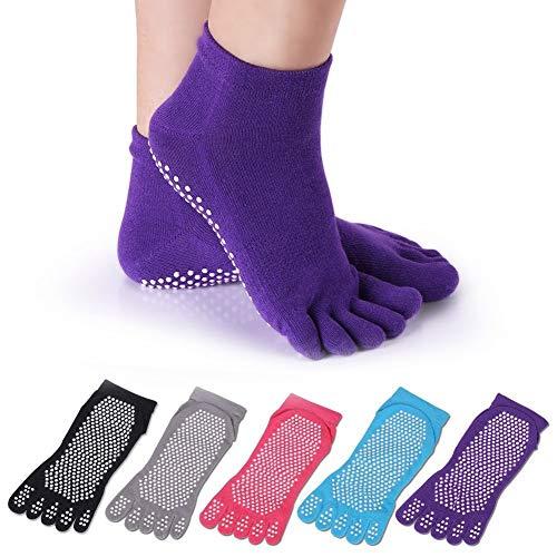 YIQI 5 Pares de Calcetines Antideslizantes Antideslizantes de Yoga Pilates Antideslizantes con Punta Completa de algodón para Mujer