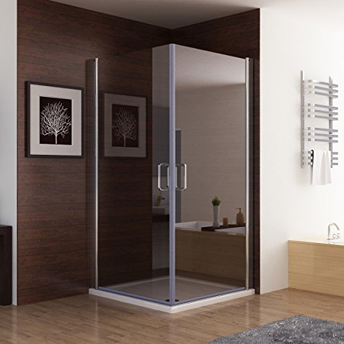 Duschkabine Dusche Duschwand 180° Schwingtür Eckeinstieg NANO Glas 90 x 90 x 195cm