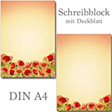 Schreibblock Mohnblumen Klatschmohn 25 Blatt Format DIN A4 mit Deckblatt 7420 (1 Stück Briefblock)