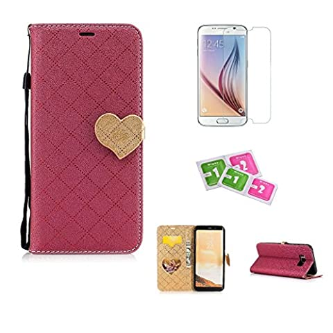 JGNTJLS Samsung Galaxy S7 Edge Case, [New Original Style] [with Free Tempered Glass Screen Protector] LOVE, Cute, Fashionable, Stylish, Cross-Embossing(Contrast-Colorful, Wrinkle-Design), Fax Leather-Shell(Artificial, Silky Touch Fully), Photos Frame Additional(Heart-Shaped, Transparent HD) [Small Black Lanyard Strap] Flip Wallet Card Slot Smart Stand Cover Ultra Slim Protective Folder Case Perfectly Fit For Samsung Galaxy S7 Edge [5.5