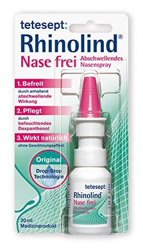 tetesept Rhinolind Nase frei Abschwellendes Nasenspray - Nasenspray abschwellend bei Erkältung & Schnupfen - befreit & pflegt die verstopfte und wunde Nase - 5 x 20 ml