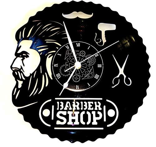 Reloj de vinilo de pared LP 33RPM Instant Karma Idea regalo Vintage Handmade–Peluquería Pelo Barba Salón Belleza Peluquería Hombre Barber Shop