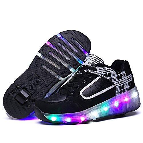 HUSK'SWARE Baskets Enfants LED Chaussures Lumineuse À Roulettes Garçons Filles Sneakers Avec Roues Automatique De Patinage Chaussures avec Roues Easter Day Noir-Blanc