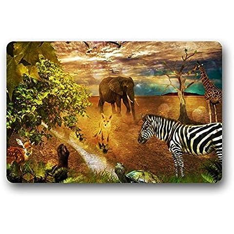 Dream exterior,/; -home Fashions elefante cebra y jirafa de limpiar alta calidad Felpudo 23,6(L) X 15,7(W)