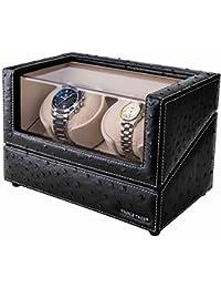 Doble reloj devanadera -Estuche bobinadora para 2 relojes, en concha de madera y cuero negro, motor japonés, ajuste de 4 modos de rotación, ajuste automático y reloj automático