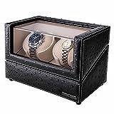 Remontoir de montres pour 2 Montres Automatiques Rolex-avec flexible Plush Pillow, dans Wood Shell et Black Leather, Moteur japonais, 4 mode de rotation, fit - femme et Man Automatic Watch