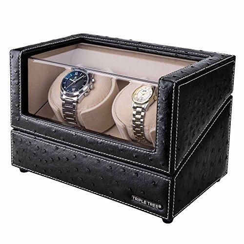 Doble-reloj-devanadera-Estuche-bobinadora-para-2-relojes-en-concha-de-madera-y-cuero-negro-motor-japons-ajuste-de-4-modos-de-rotacin-ajuste-automtico-y-reloj-automtico