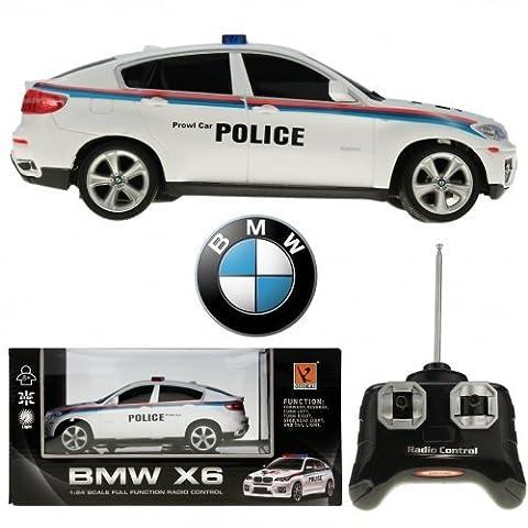 BMW X6 POLICE | R/C Modell | 1:24 Maßstab | Funk 6 Richtungen |Lizenz Ware| DHL by KaSul Germany