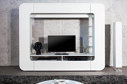 Design Medienwand CUBUS weiß 185cm Hochglanzfront 3D Optik Wohnwand TV Wand - 3