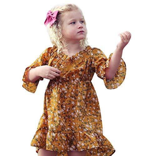 cinnamou Kleid Mädchen, Mädchen Kleid mit Print Sommerkleid Party Prinzessin Dress