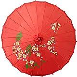 Chinesischer Sonnenschirm Dekoschirm aus Kunstseide Ø 84cm Rot / Kirschblüten