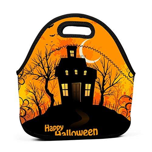 Lunch-Taschen für Frauen, Halloween-Hintergrund, Mädchen, wiederverwendbar, Snack-Taschen, süße Kleinkinder, Lunchtasche, Taschen, 3D-Druck, kleine Handtaschen