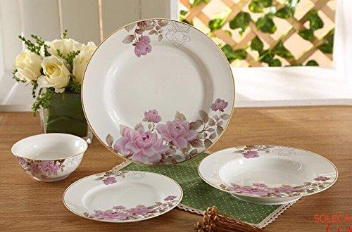 Hayat Tafelservice 24 tlg. Blumenmuster Ess-Service Tafelservice Dinner Set Porzellan Dinner-service