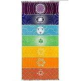 Amasawa 75cm*150cm Indiano Yoga Tapestry Chakra Yoga de Playa Tapices Colgantes Utilizado para Hogar