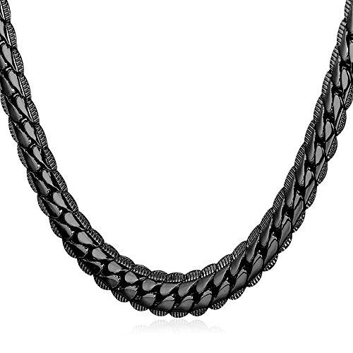 U7 Halskette 6mm breit 61cm/24 lang Rundpanzerkette - Mesh Englische Halskette schwarzes Metall plattiert Gliederkette für Männer Jungen, schwarz (Kinder Halloween Websites)