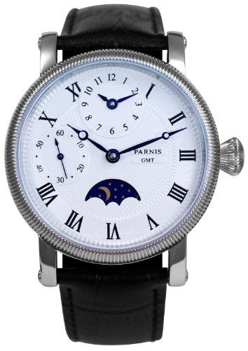 PARNIS Handaufzug Herrenuhr Modell 2002 mechanische Armbanduhr Tag-Nachtanzeige zweite Zeitzone Lederarmband Edelstahl Handaufzugsuhr