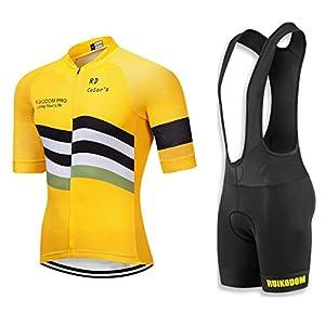 RUIKODOM Traje de Ciclismo Maillots de Bicicleta Conjunto de Verano Hombres Ropa de Ciclo Jersey de Manga Corta + Pantalones Cortos Acolchados Cómodo Respirable Secado rápido