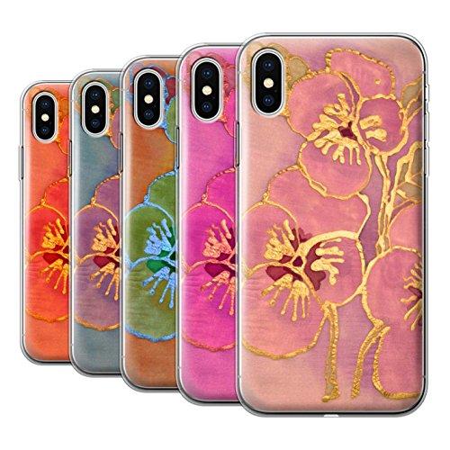 Stuff4 Gel TPU Hülle / Case für Apple iPhone X/10 / Rote Muster / Blumen Seide Effekt Kollektion Pack 5pcs