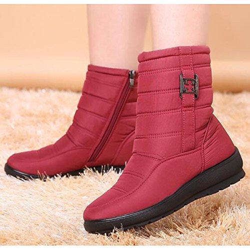HSXZ Scarpe donna tessuto poliammide Fall Winter Snow Boots stivali tacco piatto rotondo Mid-Calf Toe stivali per Casual marrone nero rosso verde blu Green