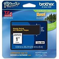 Brother TZe-354 Nastro per Etichettatura 24 mm, Oro su Nero - Confronta prezzi