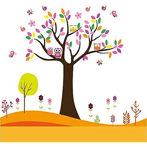 Docliick® Vinilos infantiles o decorativos de un Arbol y buhos junto a mariposas, pájaros y flores, para dormitorio de niño o niña, reutilizable, no deja