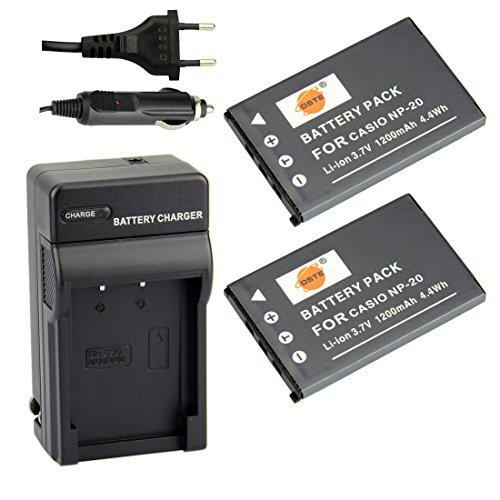 DSTE®(2 Pack)Ersatz Batterie und DC75E Reise Ladegerät Kit für Casio NP-20 Exilim EX-Z3 EX-Z4 EX-Z5 EX-Z6 EX-Z7 EX-Z8 EX-Z11 EX-Z60 EX-Z65 EX-Z70 EX-Z75 EX-Z77 EX-M1 EX-M2 EX-M20 EX-S1 EX-S2 EX-S3 20 Akku-pack