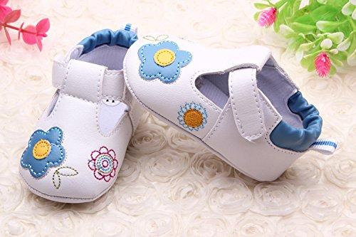 YICHUN Bébé Fille Chaussures de Premier Pas Fleur Chaussures de Loisir Chaussures Souple (Longueur de Semelle :13cm/5.1 pouces, Rose) Bleu