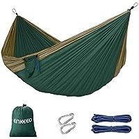 Enkeeo Hängematte Outdoor 260 x130 cm Hängematte Mehrpersonen Picknickdecke für Outdoor Camping Belastbarkeit bis 200 kg, Grün