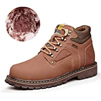 Bota de hombre Botines de trabajo Zapatos de trabajo de suela cálida con parte superior redonda superior de algodón (Convencional opcional) Invierno ( Color : Wark Light brown , tamaño : 45 EU )