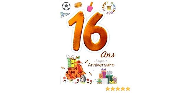 Age Mv 69 2016 Carte Joyeux Anniversaire 16 Ans Ados Garcon Fille Motif Scooter Cadeaux Hamburger Basket Foot Vernis A Ongle Happy Birthday Papeterie Cartes Et Papier Cartonne