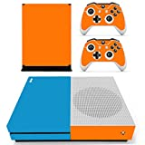 DOTBUY Vinyl Decal Full Body Skin Sticker For Microsoft Xbox One S Console And 2 Controllers And Kinect 2.0 (Mix Blue-Orange)