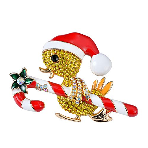 Milopon Weihnachts-Brosche in Entenform, Stoff, Strass-Steine, glänzend, für Jungen, Mädchen, Männer, Frauen, Weihnachten, Party-Zubehör