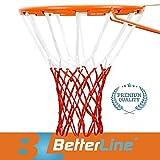 Better Line® Premium Qualitäts Profi Basketballnetz für alle Wetterbedingungen Strapazierfähig Dickes Netz, 12 Schlaufen (Weiß und Rot)