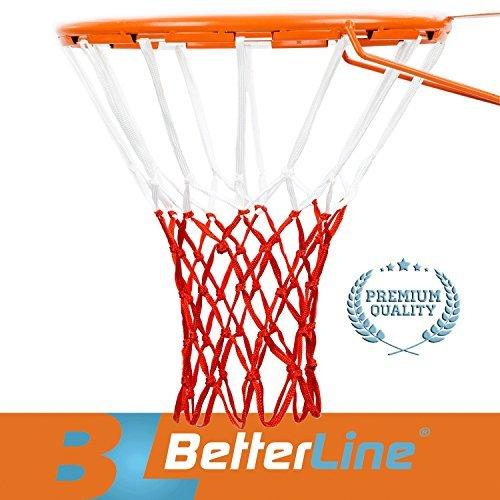 Better Line® Premium Qualitäts Profi Basketballnetz für alle Wetterbedingungen Strapazierfähig Dickes Netz, 12 Schlaufen (Weiß und Rot) (A-line Netz)