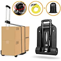 Carretilla plegable Wilbest, Carritos porta equipajes con 4 ruedas Carga máxima 75 kg/165 lbs - Después de plegar se puede poner en la mochila - Ruedas delanteras con rotación de 360 °- Negro
