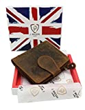 RFID BLOCKING Ladies Designer J WILSON London Quality Distressed Oiled Hunter Leather Card Coin Holder Purse Wallet